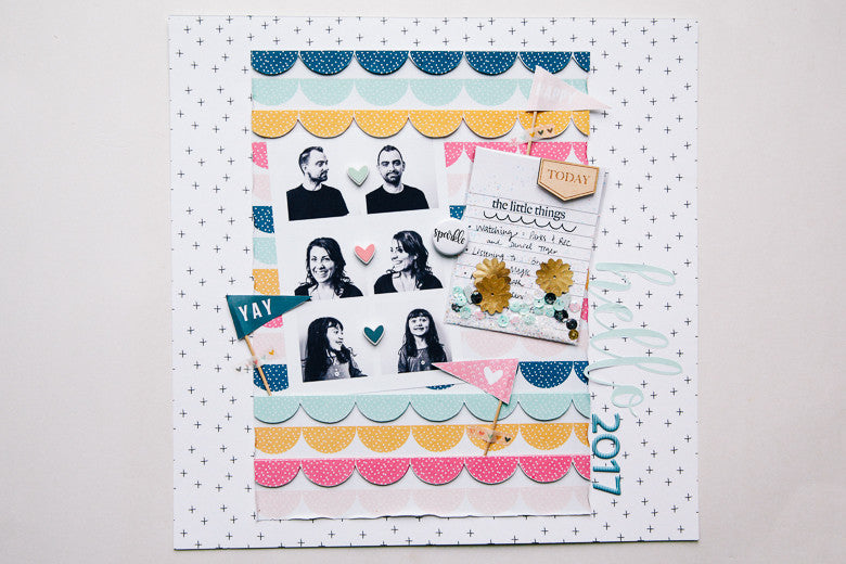 Hello, 2017 Scrapbook Layout | Marybeth Hancher