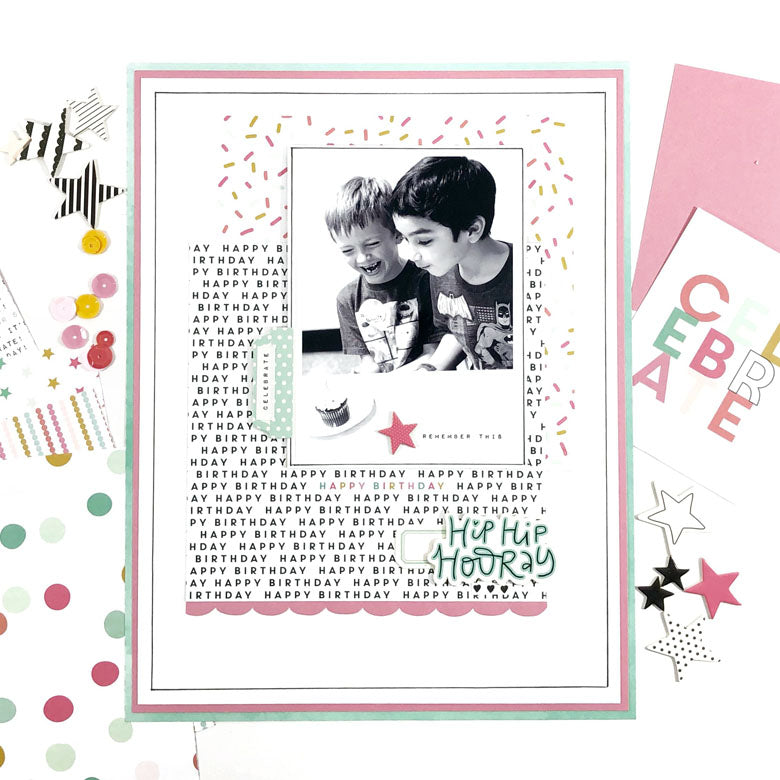 Hip Hip Hooray Birthday Layout | Lynne Ashcraft