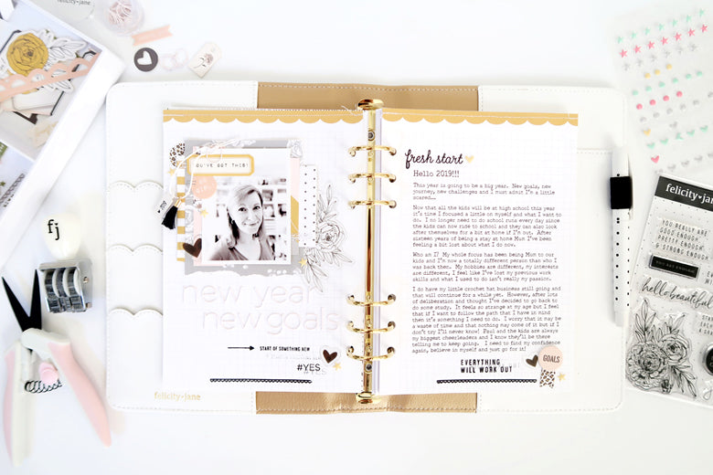 New Year New Goals Note to Self Binder Spread | Sheree Forcier