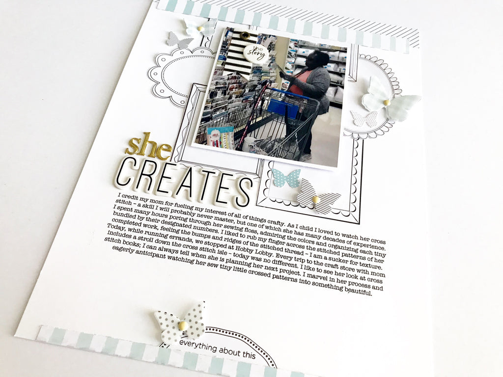 She Creates Scrapbook Layout + Sketch | Victoria Calvin