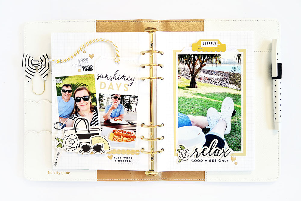 Sunshiney Days Note to Self Binder Spread | Sheree Forcier