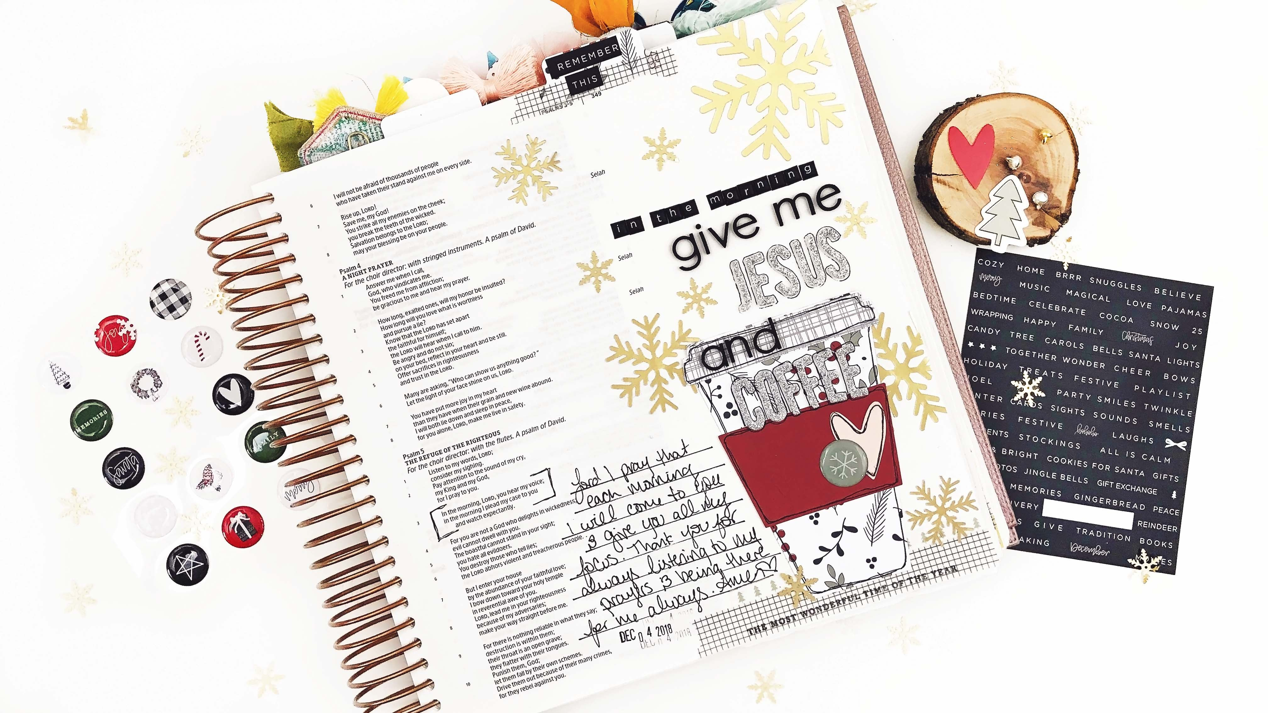 Bible Journaling - In The Morning with Cut Files 1 | Lindsey Lanning