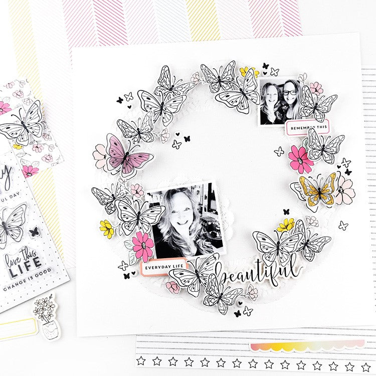 Butterfly Wreat Layout by Lorilei Murphy | Felicity Jane