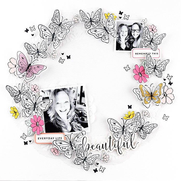 Butterfly Wreath Layout by Lorilei Murphy | Felicity Jane