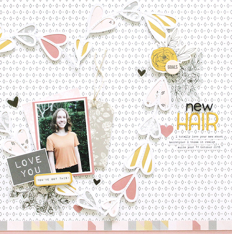 'New Hair' Layout with Jill Kit 1 | Mandy Melville | Felicity Jane