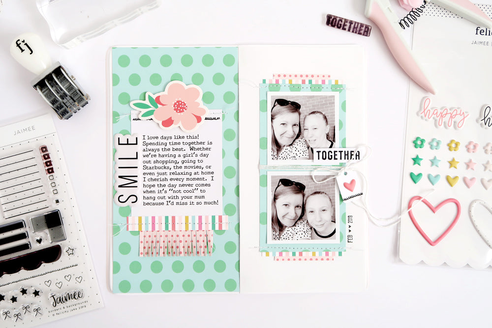 SMILE! a Travelers Notebook Spread 1 | Sheree Forcier | Felicity Jane