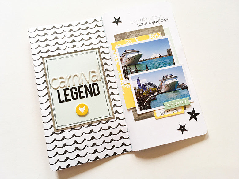 Carnival Legend Traveler's Notebook Spread by Mandy Melville | @FelicityJane