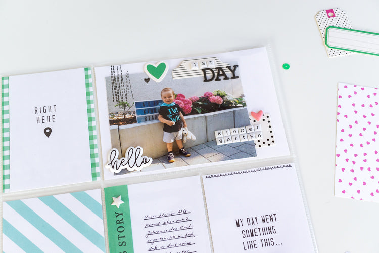 1st Day Kindergarten Pocket Page with Jamiee collection 2 | Ulli Dold | Felicity Jane