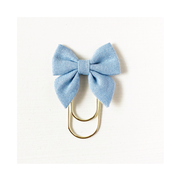 Mini Fabric Bow Clip - Amanda Blue