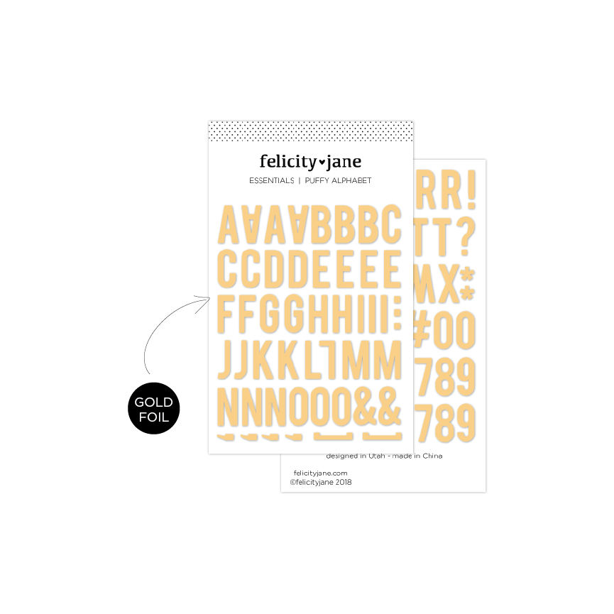 Essentials | Puffy Alphabet Stickers - Gold Foil