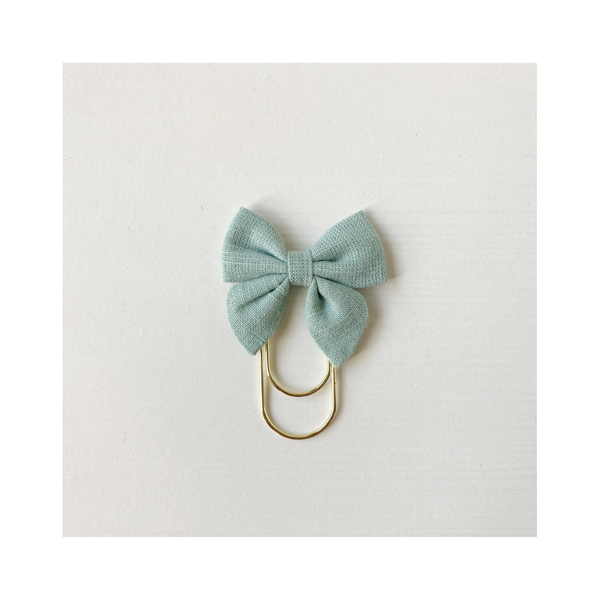 Mini Fabric Bow Clip - sage