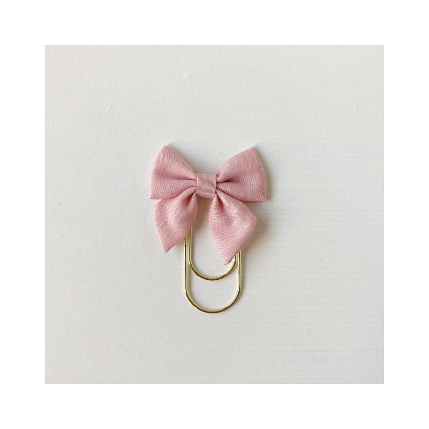 Mini Fabric Bow Clip - dusty pink