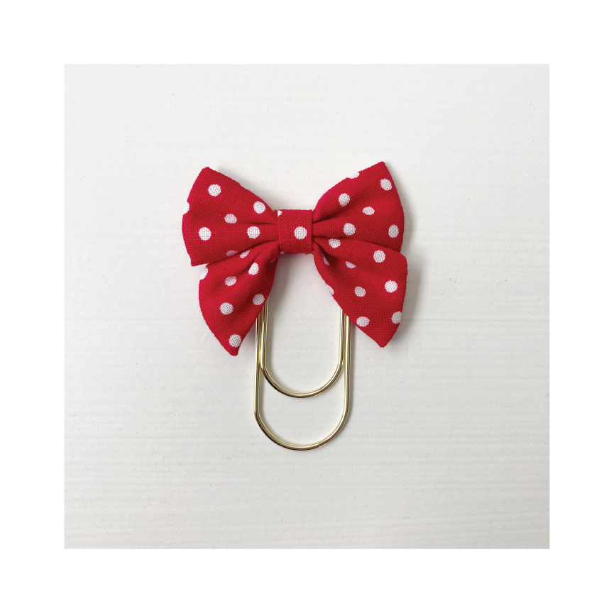 Mini Fabric Bow Clip | Coco Red Dot