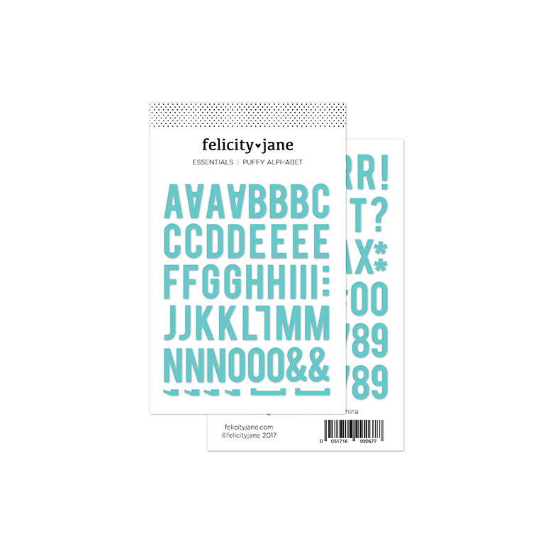 Essentials | Puffy Alphabet Stickers - Aqua