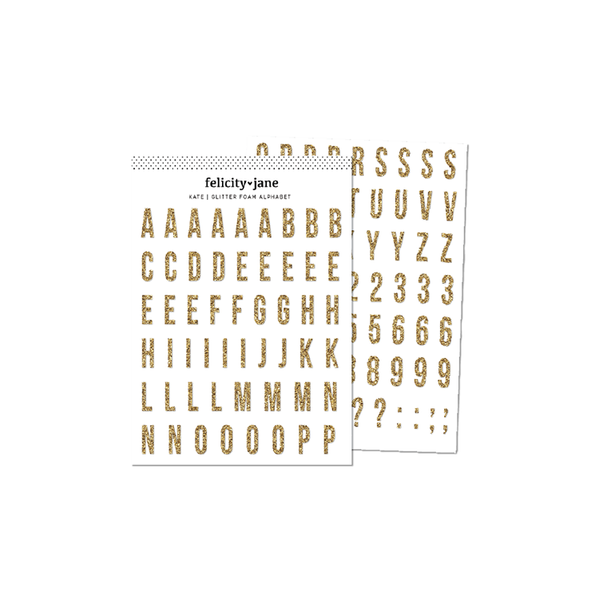 Gold Glitter Foam Alphabet
