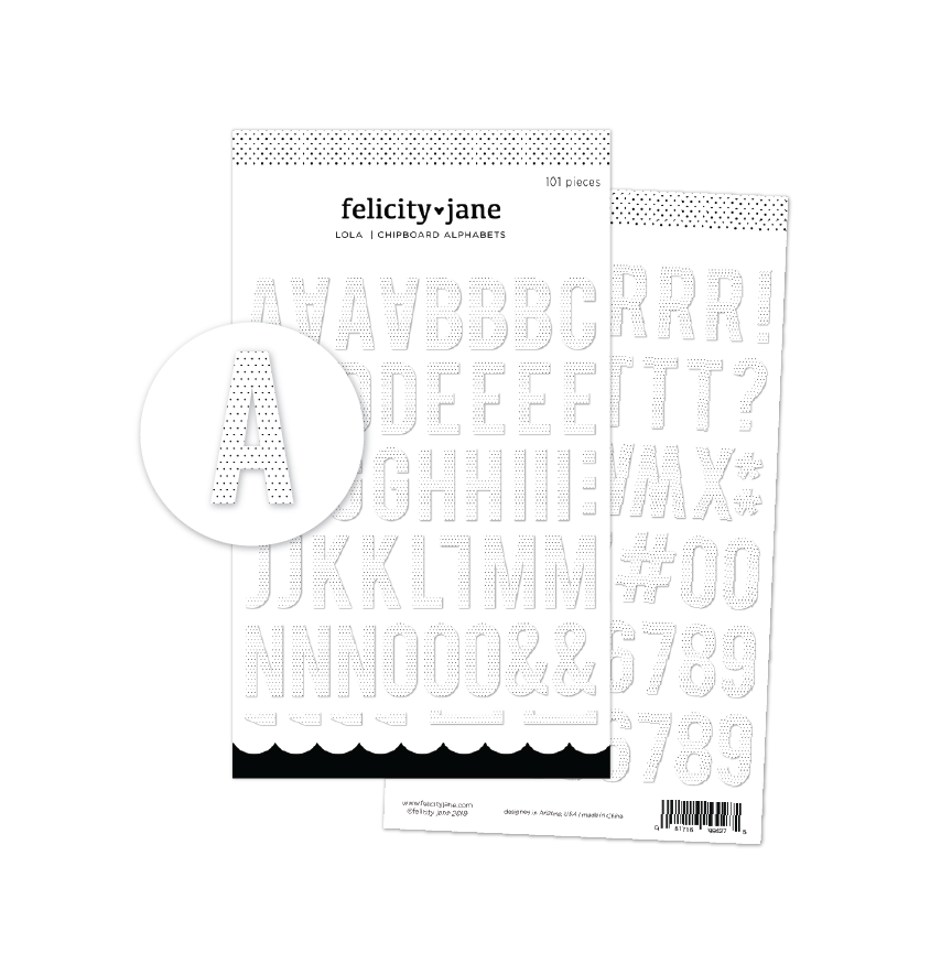 Lola | White & Black Polkadot Chipboard Alphabet Stickers