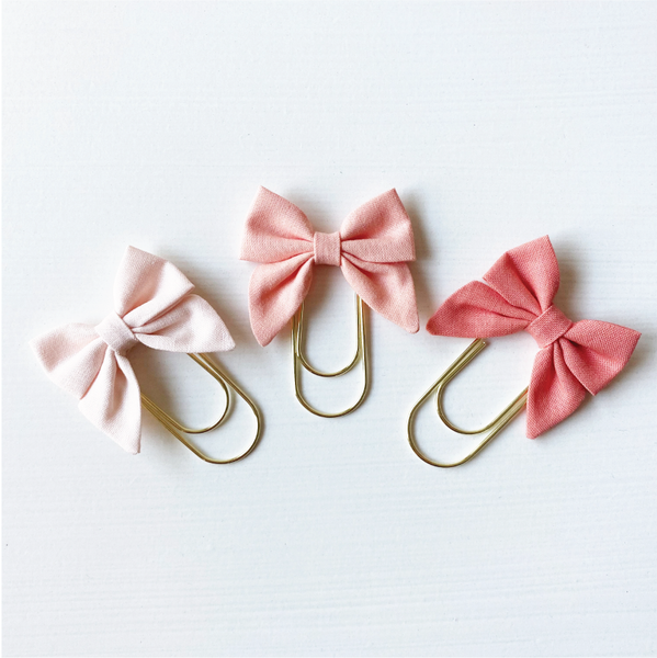 Mini Fabric Bow Clip Set - Blush, Peach, Coral