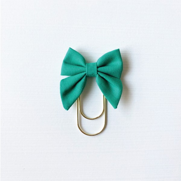 Mini Fabric Bow Clip - LUCKY