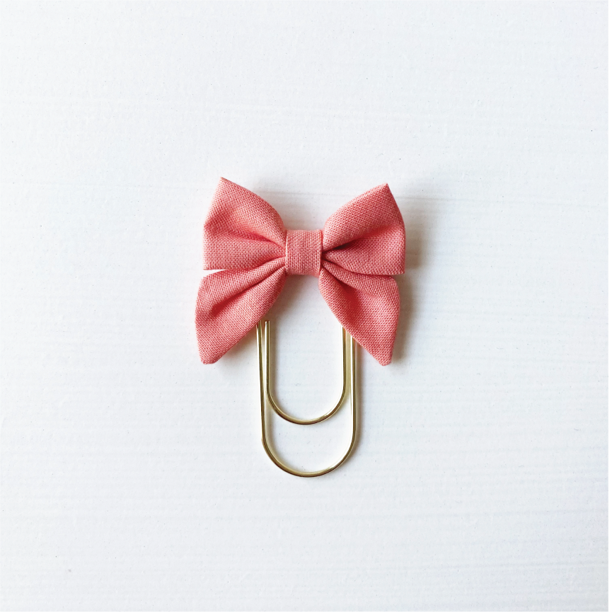 Mini Fabric Bow Clip - Coral