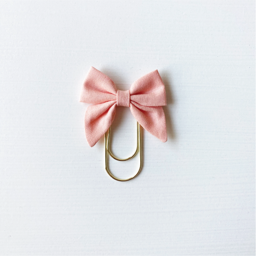Mini Fabric Bow Clip - Peach