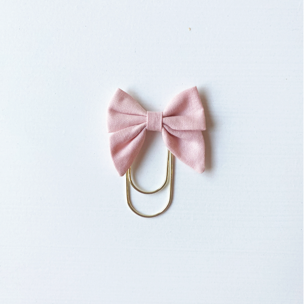 Mini Fabric Bow Clip - rose