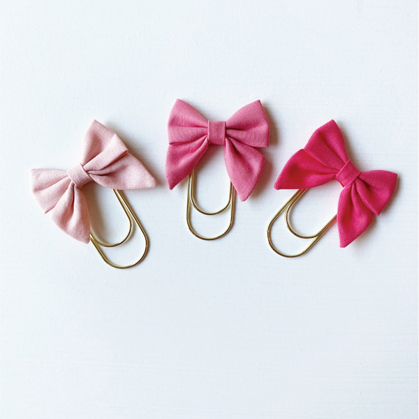 Mini Fabric Bow Clip Set - Rose, Peony, Tulip