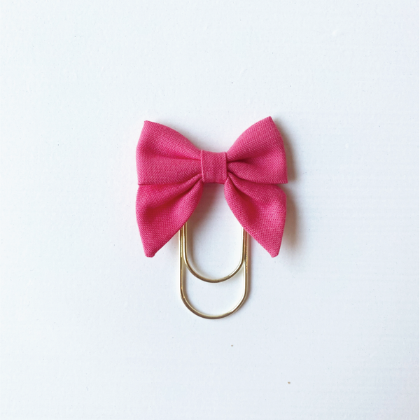 Mini Fabric Bow Clip - tulip