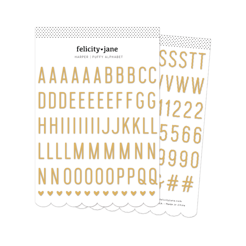 Harper | Gold Foil Puffy Alphabet Stickers