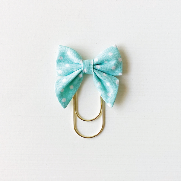 Mini Fabric Bow Clip - Aqua Dot