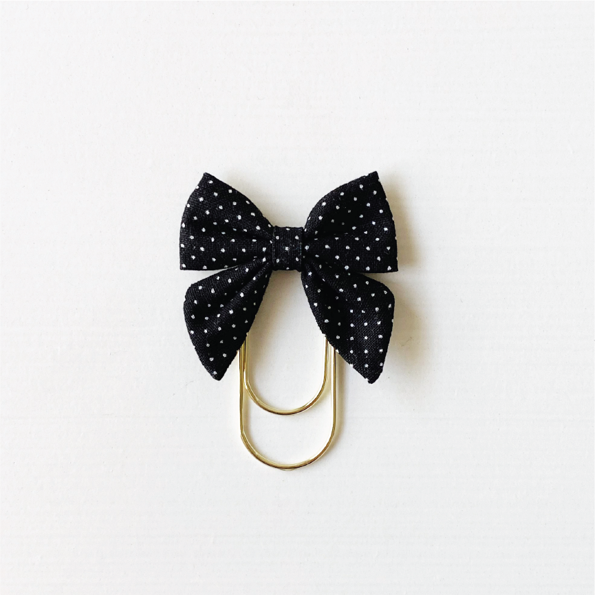 Mini Fabric Bow Clip - Black swiss dot