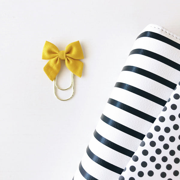 Mini Fabric Bow Clip - Mustard