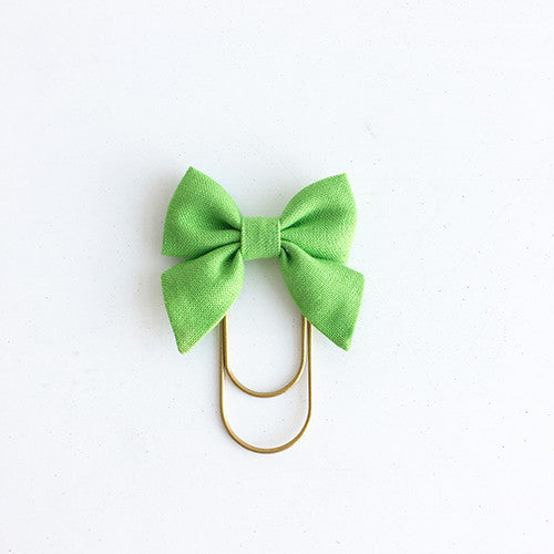 Mini Fabric Bow Clip - Green