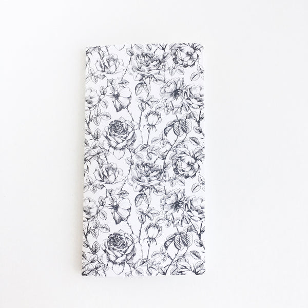 Traveler's Notebook Insert | Black & White Floral