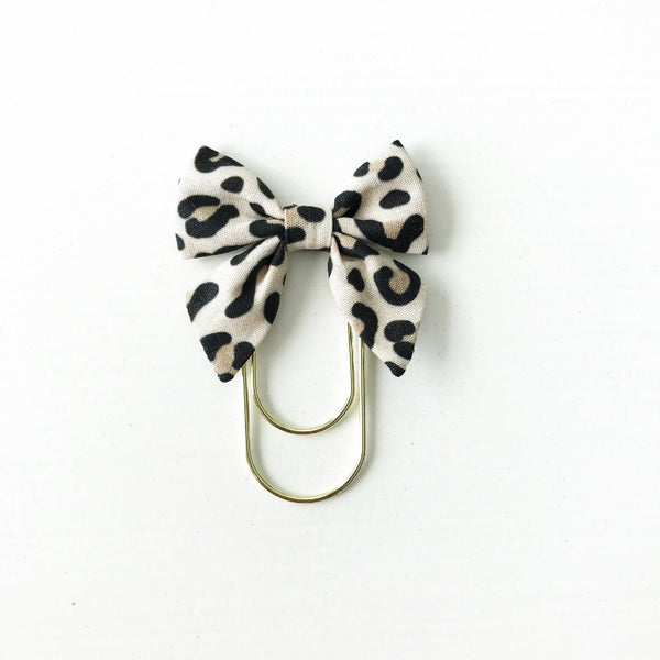 Mini Fabric Bow Clip | Rebekah Leopard