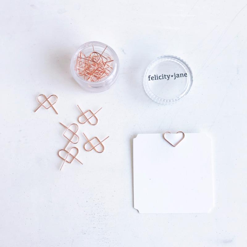 Mini Heart Clips - Rose Gold