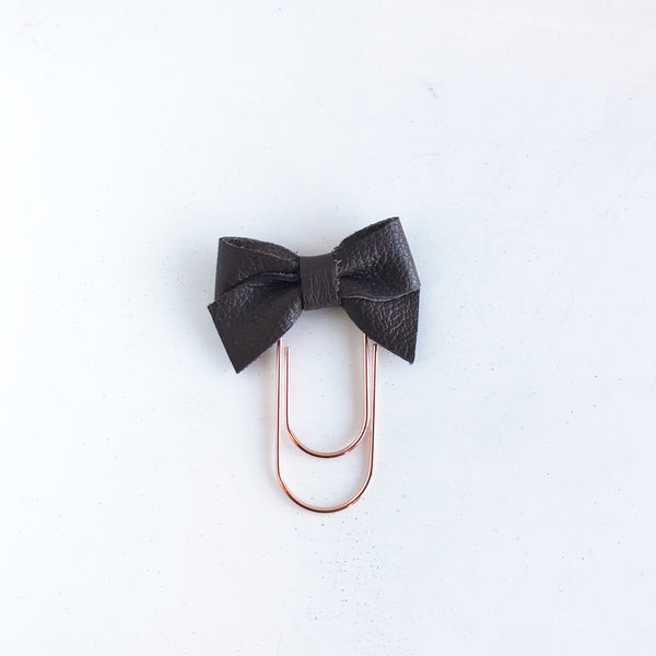 Mini Fabric Bow Clip | Brown Leather