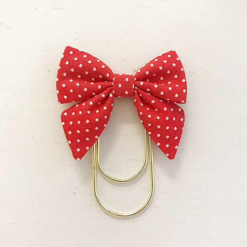 Mini Fabric Bow Clip | Red Dot