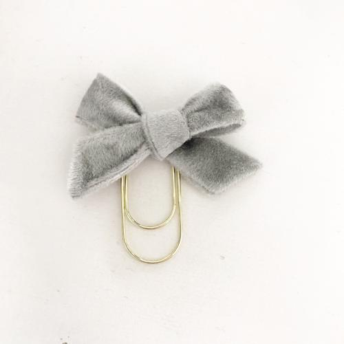 Mini Fabric Bow Clip | Grey Velvet