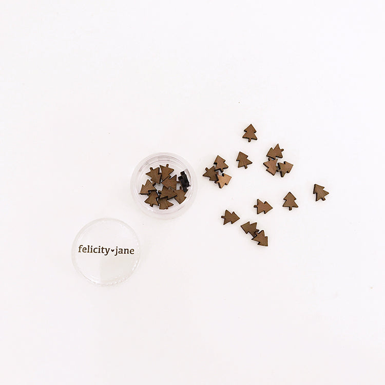 Holly | Mini Wood Tree Confetti - DARK