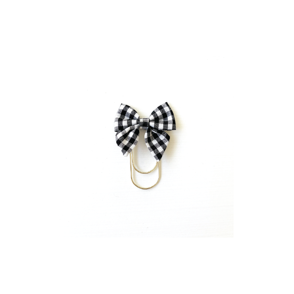 Mini Fabric Bow Clip - Black Gingham