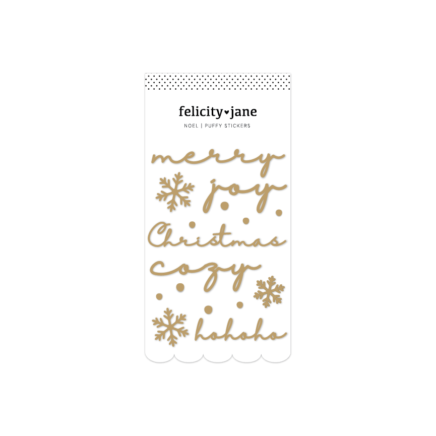 Noel | Gold Foil Puffy Title Stickers