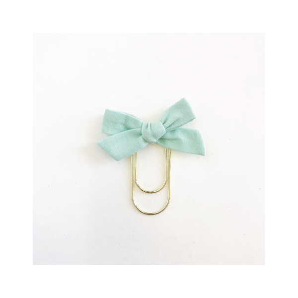 Mini Handtied Fabric Bow Clip | Shay Mint