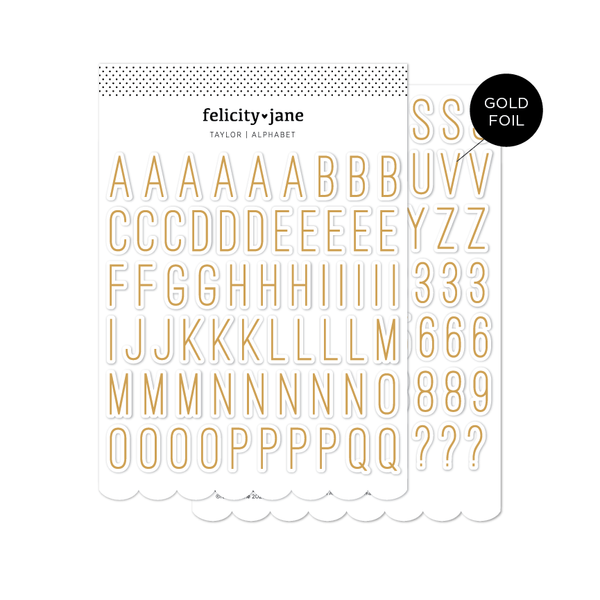 Taylor | Chipboard Alphabet Stickers with Gold Foil