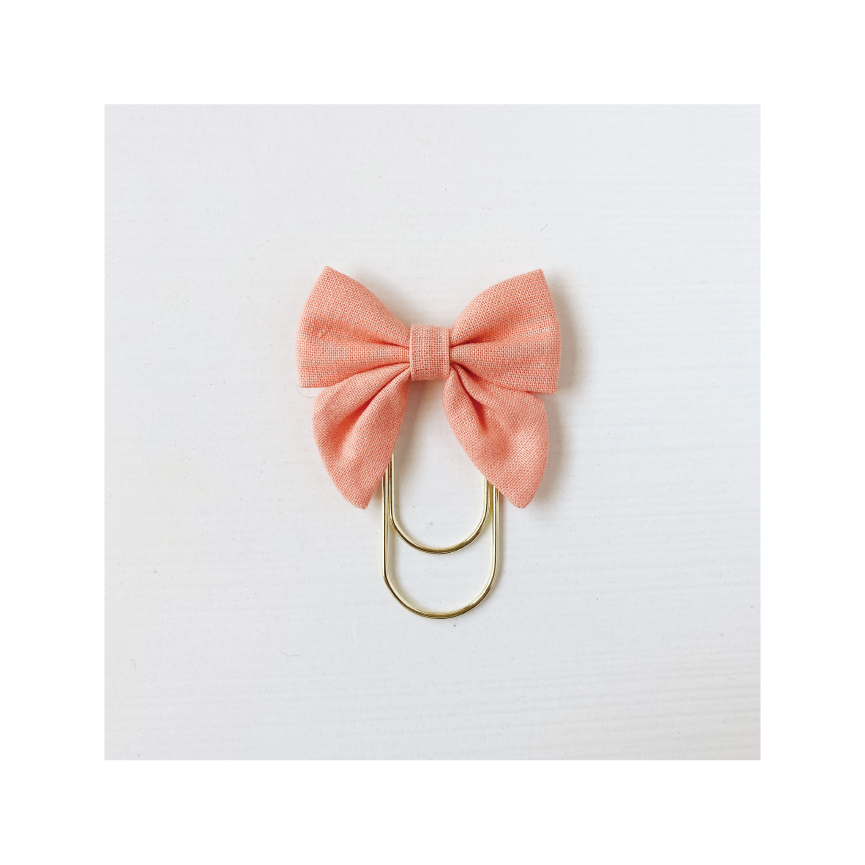 Mini Fabric Bow Clip - Cantaloupe