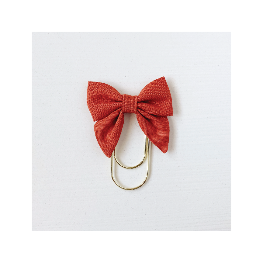 Mini Fabric Bow Clip - Rust