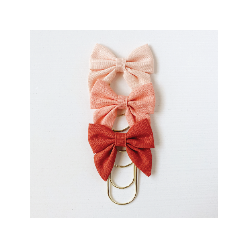 Mini Fabric Bow Clip Set | Apricot, Cantaloupe, Rust