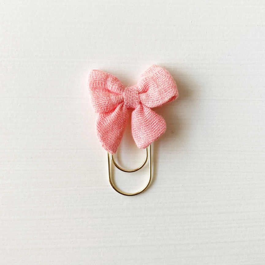 Mini Fabric Bow Clip - Salmon Puffy Gauze