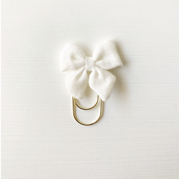 Mini Fabric Bow Clip - White Puffy Gauze