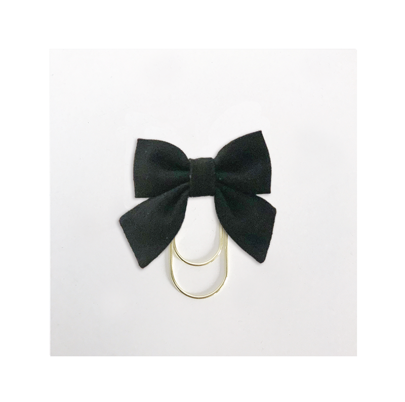 Mini Fabric Bow Clip | Black