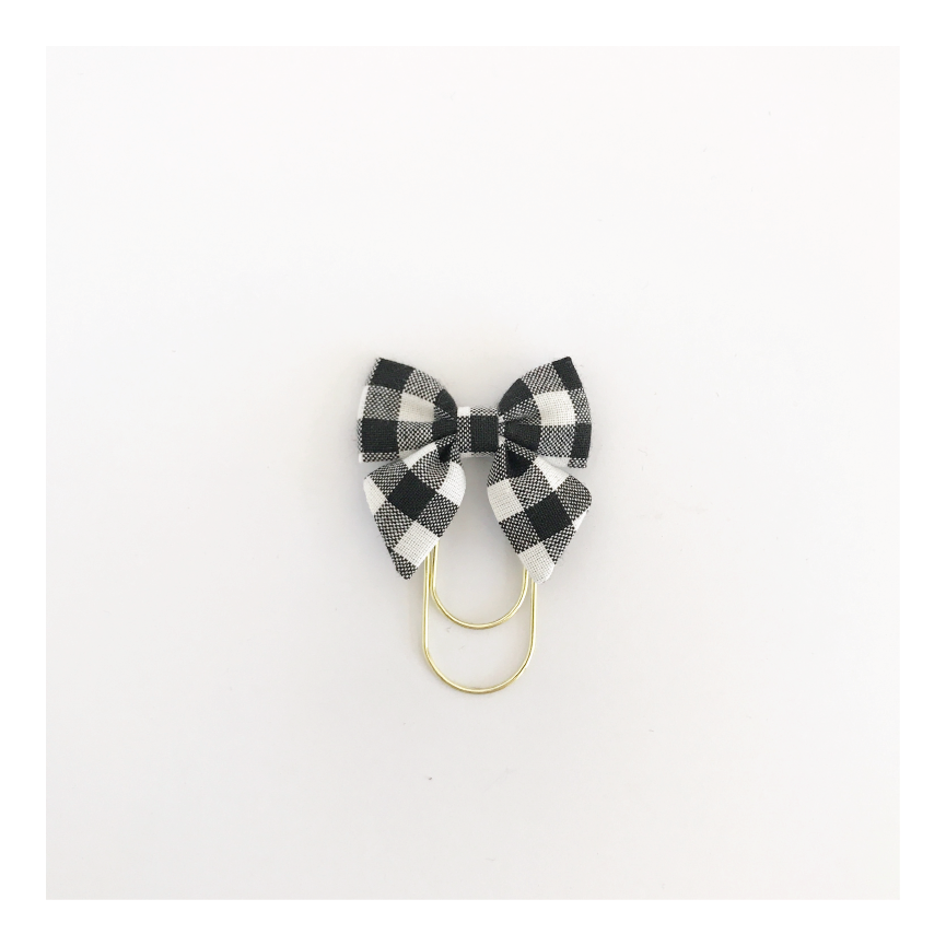 Mini Fabric Bow Clip | Amber Black Gingham